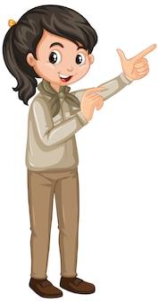 스카우트 소녀 흰색 배경에 유니폼