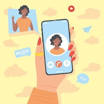 Девушка в смартфоне в видеозвонке
