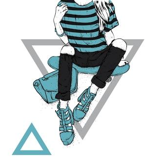 Девушка в стильной одежде и скейтборде