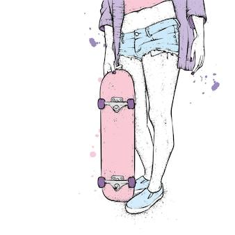 세련된 옷과 스케이트 보드 소녀