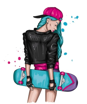 세련된 옷과 스케이트보드를 입은 소녀