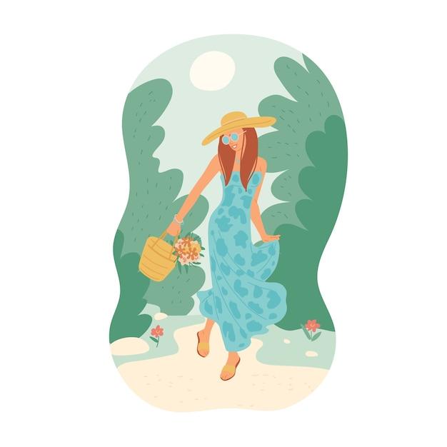 Девушка в летнем платье с букетом идет по тропинке среди деревьев против солнечного неба. молодая женщина