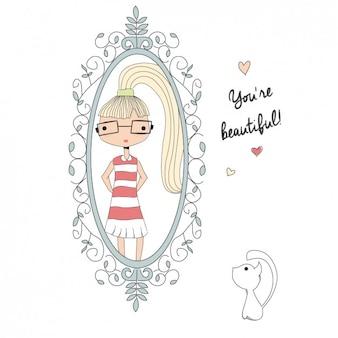 Девушка в зеркале фоне