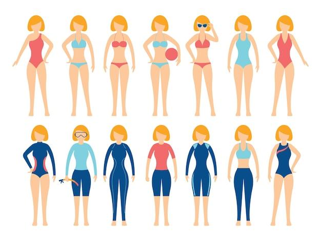 다양한 유형의 수영복 세트 소녀