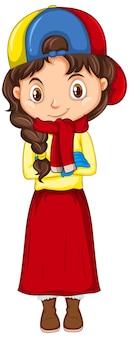 격리 된 배경에 겨울 옷 소녀