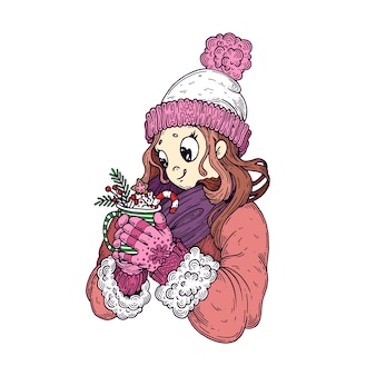 Девушка в зимней одежде, со сладостями.