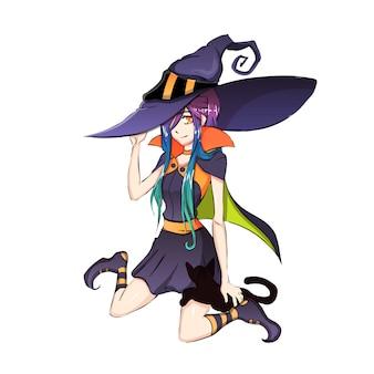 Девушка в костюме ведьмы для хэллоуина, на белом фоне. стиль аниме ведьма.