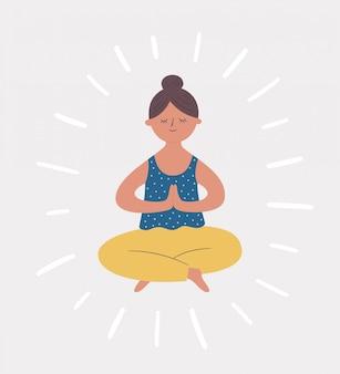 ヨガのポーズの女の子。ヨガの練習と瞑想。
