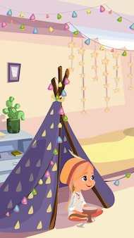 Girl in indian costume sit in wigwam play tam-tam