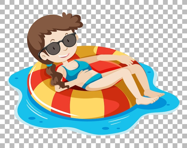 Girl on inflatable ring on transparent background
