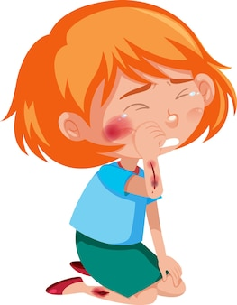 Girl injured at cheek and arm cartoon character isolated on white background