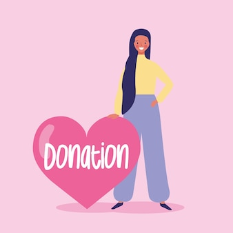 Girl inviting to donate to charity cartoon illustration