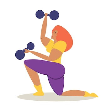 The girl is engaged in sports a female sports coach with dumbbells in her hands shakes her muscles v...