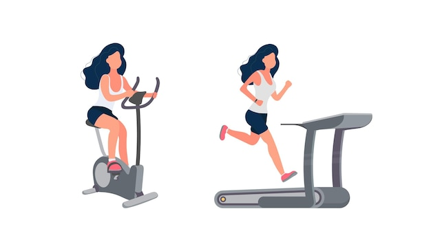 The girl is engaged in a stationary bike. woman runs on a treadmill.