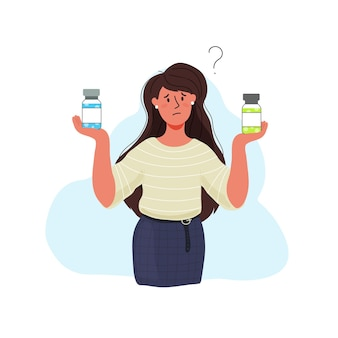 A girl is holding a vaccine vial. do i need the vaccine, contraindications, different types of vaccines. comparisons of different vaccines from covid-19.