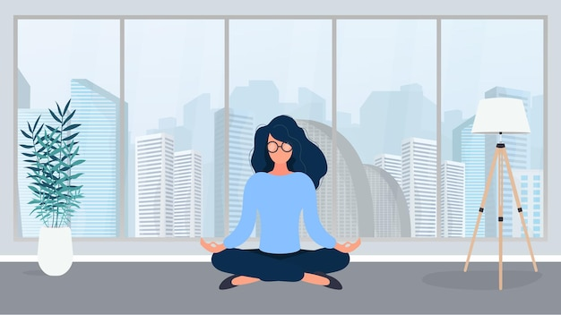 The girl is meditating in the office. the girl practices yoga. room, office, floor lamp, room growth, table with laptop, workplace. vector illustration