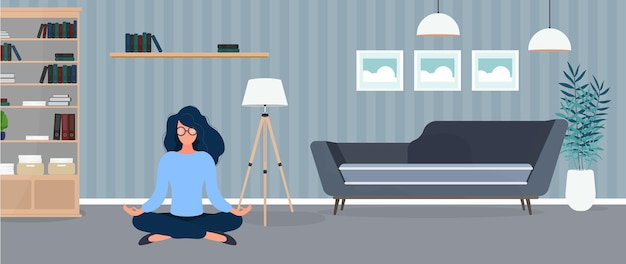 The girl is meditating in the room. the girl practices yoga. room, sofa, paintings, bookcase.  illustration
