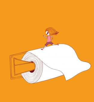 The girl is running on toilet paper toilet paper