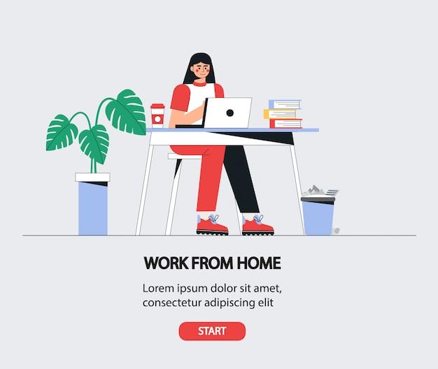 여자는 노트북 테이블에 앉아있다. 집에서 일하는 여자. 프리미엄 벡터