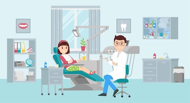 소녀는 치과 의사 약속에 의자에 앉아있다. 치과 사무실의 개념입니다. 평면 그림.
