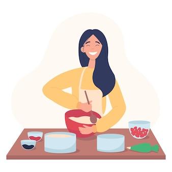 女の子が生地をかき混ぜています。菓子職人はケーキを焼きたいと思っています。