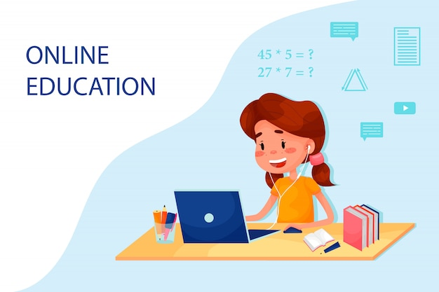Girl is studying online with the laptop by the table. vector flat illustration for websites.