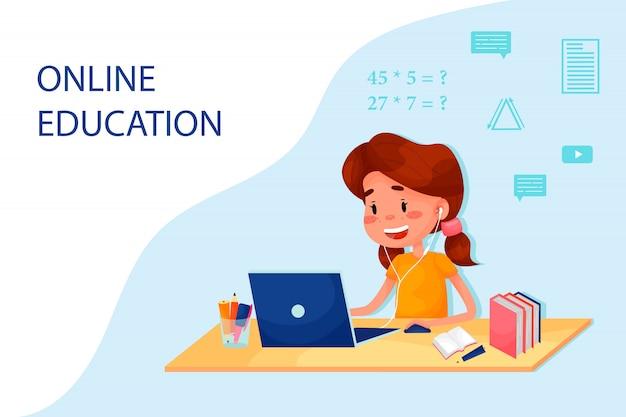 女の子はテーブルのそばでノートパソコンをオンラインで勉強しています。ウェブサイトのベクトルフラットイラスト。