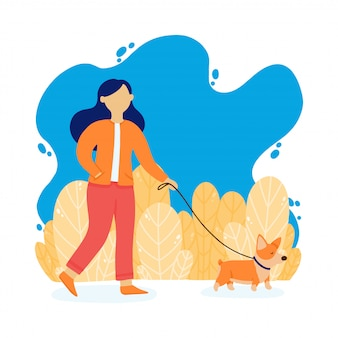 The girl is walking with a dog. lady with corgi dog in the park. vector illustration in a flat style.