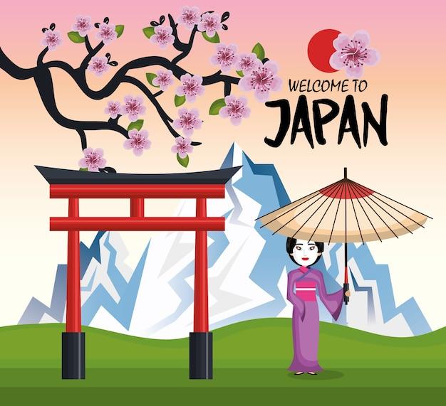 Девушка японский кимоно приветствие японская икона