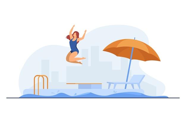 야외 수영장으로 점프하는 소녀.