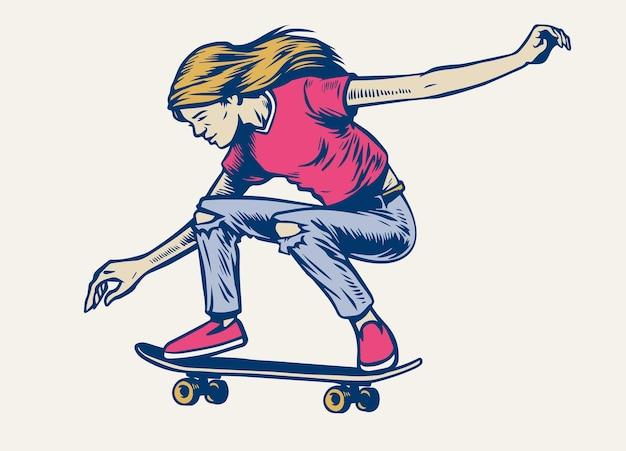 손으로 그린 스타일로 스케이트보드 위에서 점프하는 소녀