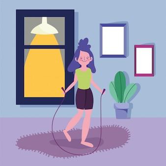 여자 집에서 밧줄 활동 스포츠 운동 점프