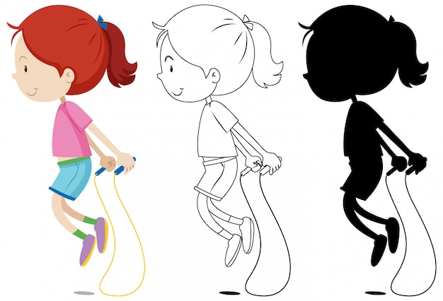 Girl jumping rope with its outline and silhouette