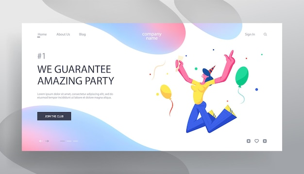 Girl jumping with hands up in festive hat holding wine glass celebrating birthday party holiday with balloons and confetti. website landing page, web page.