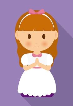 女の子の漫画の白いドレスのアイコン