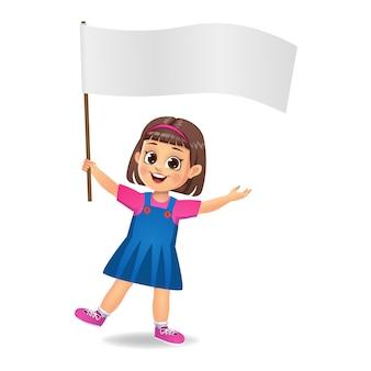 Girl kid holding blank flag