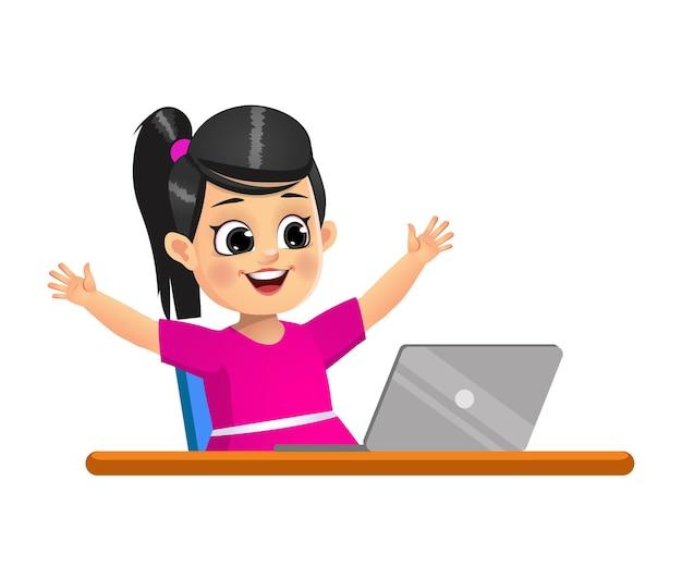 여자 아이는 노트북을보고 행복하다