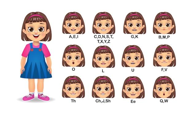 여자 아이 입 애니메이션 및 알파벳 발음 세트