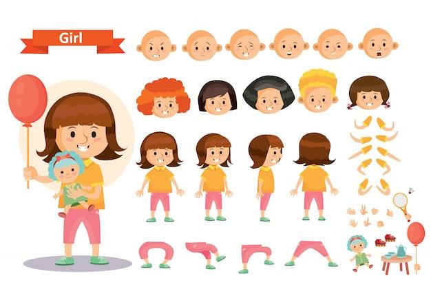 ゲームやおもちゃをする少女の子供漫画の子供の文字のコンストラクタ