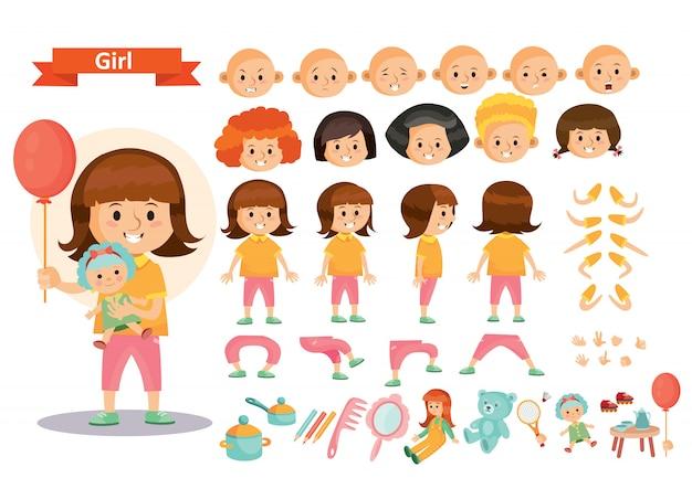 신체 부위의 장난감 만화 아이 캐릭터 생성자 고립 된 아이콘을 재생하는 여자 아이