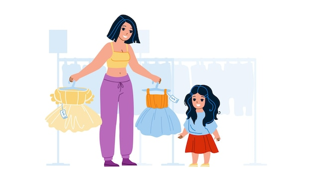 女の子の子供の買い物と店のベクトルでドレスを選択します。店で買い物をし、美しい服を選ぶ母と子。キャラクターママと子季節割引フラット漫画イラスト