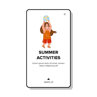 놀이터 벡터에 여자 아이 여름 활동입니다. 친구, 여름 활동 및 스포츠 시간과 함께 배구를 하는 아이. 공 웹 플랫 만화 일러스트와 함께 낚시를 좋아하는 게임을하는 캐릭터