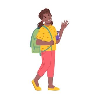 Девочка-подросток идет в школу и машет рукой