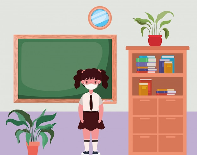 Girl kid with mask in classroom