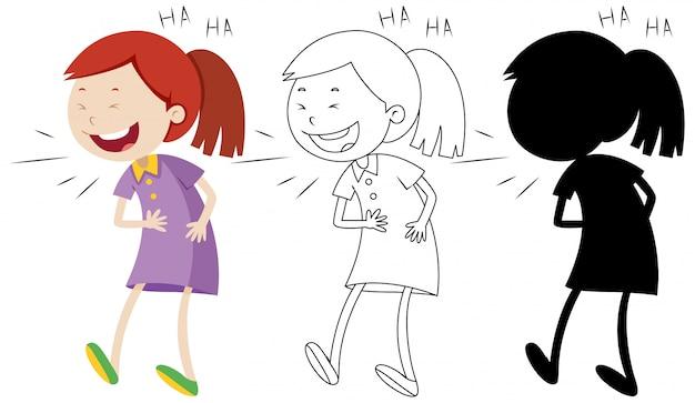 Девушка смеется со своим контуром и силуэтом
