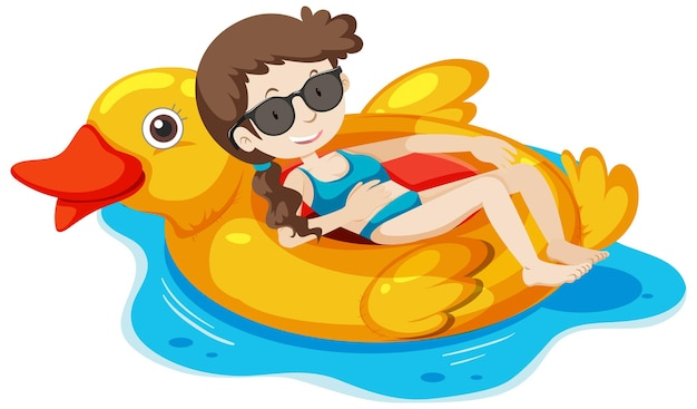 A girl laying on the duck swimming ring in the water isolated