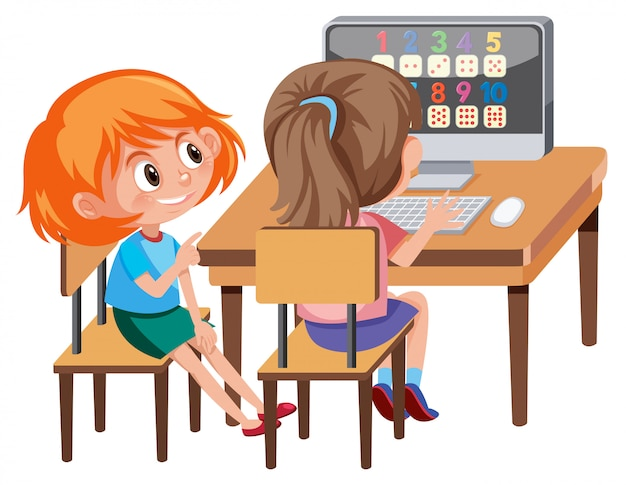 Girl learning math on computer