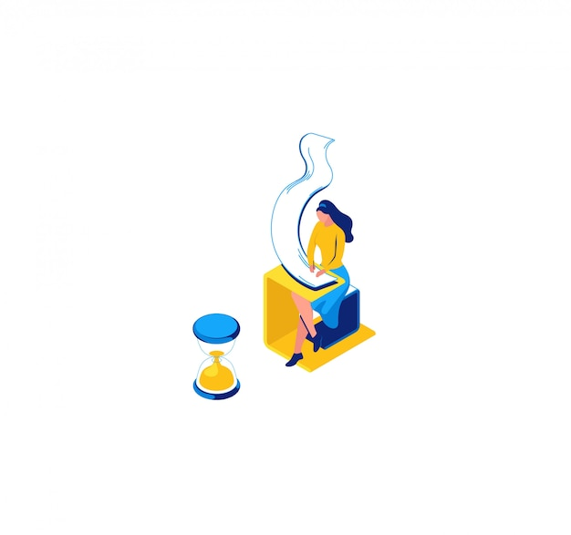 Girl learning, writing notes in copybook, isometric concept