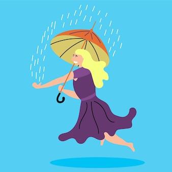 Girl levitates umbrella raining outside levitating