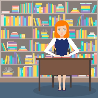 The girl librarian with books